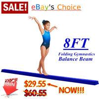 Gymnastics Balance Beam 8 Ft, Blue, Padded Suede Surface, Foldable, Home Gym, US
