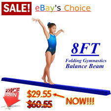 Gymnastics Balance Beam 8 Ft, Blue, Padded Suede Surface, Foldable, Home Gym, Us