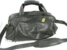 Claire Chase Leather Travel Bag Duffle Vintage Black Lightweight Weekender
