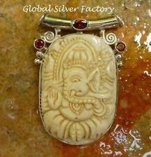 Silver and Garnet Carved Ganesh Pendant BP-173-KA