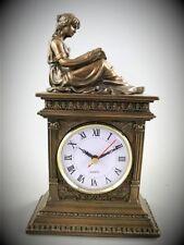 Tischuhr Reise Uhr Polystein BRONZE Frauen Skulptur farbig Kamin Uhr Zeitzeugin1
