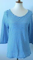 Outback Red women's Large royal blue striped  lightwt. SOFT 3/4 sleeve t shirt