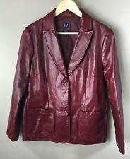 GAP Size L Large Womens Leather Jacket Blazer Maroon Button Front Notch Collar