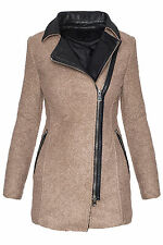 Women's Winter Coat Jacket Parka Faux leather Stand up collar warm D-244 NEW