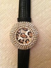 Crystalized fashion watch with Black leather straps (Female)