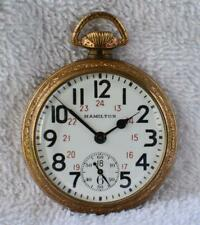 Old 1945 HAMILTON 992B Model 5 16s POCKET WATCH 21 Jewels Railroad 24h Dial RUNS