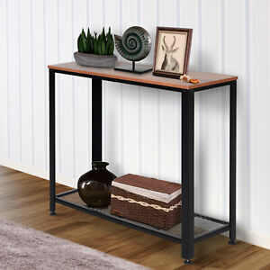 2-Tier Console Table Side/End Table w/ Mesh Shelf Entryway Hallway Furniture