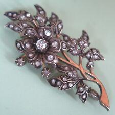 Vtg Victorian Revival Mughal Sterling Silver 10k Gold Spinel Flower Brooch Pin