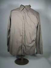 Guess Mens Shirt Size XL Extra Large Embroidered Brown Button Long Sleeve Cotton