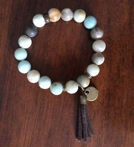 Fashion Women Dress Stone Armband Crazylace 10mm amazonite Tassel Bracelets
