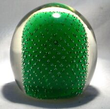 JAFFE ROSE GLASS PAPERWEIGHT CONTROLLED BUBBLE GREEN
