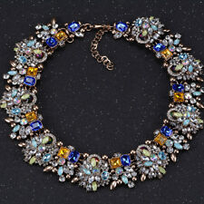 Vintage Women's Statement Choker Collar Necklace Blue Green Crystal Glass Chunky