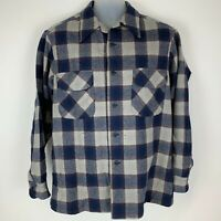 Vintage Pendleton Mens Large Button Front Shirt Blue Gray Plaid Board Shirt USA