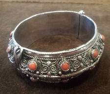 Spectacular Solid Vintage Indian Silver Bracelet with coral and filigree