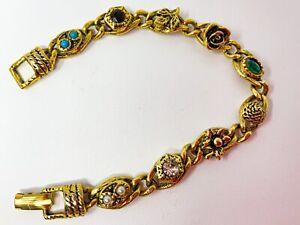 Vintage Goldette Gold Tone Rhinestone Bracelet