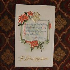 Vintage Postcard In Friendships Name, A Christmas Message, Poinsettias