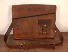 """15"""" Leather Bag Padded Messenger Bag Macbook Laptop Satchel Bag"""