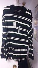NWT Sun River Clothing Co. Men's Long Sleeve Polo Shirt Blue Striped Size L