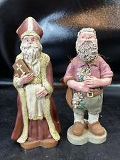 2 1988 Sarahs Attic Resin Santa Figurines Spring Santa