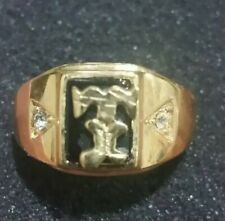 VINTAGE MEN'S ART DECO BLACK ONYX STYLE INITIAL T STATEMENT RING》GOLD》SIZE 13