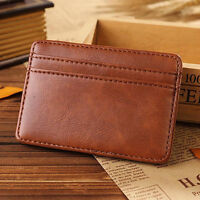 Men Faux Leather Money Clip Card Holder Pocket Slim Bifold Magic Wallet Latest