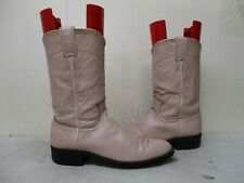 Justin Pink Leather Roper Cowboy Boots Womens Size 6.5 B Style L3714 USA
