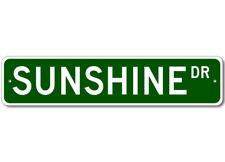 Custom Last Name Drive Street Sign SUNSHINE Personalized Aluminum Metal Plaque