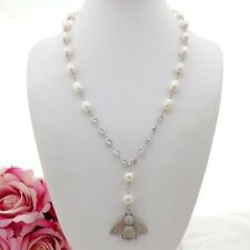 """GE082005 22"""" White Rice Pearl Necklace Cz Pave Bee Pendant"""