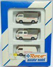 ROCO Nr.1566 Set 'HEITKAMP' mit drei VW T3 (DoKa, Pritsche, Bus) - OVP