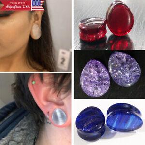 "Pair Stone Ear Plugs Double Flared Teardrop Organic Gemstone Earring 2G-1 3/8"""