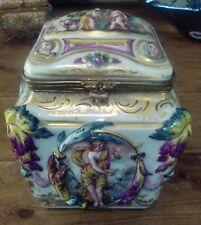 Rare Capodimonte Female figures in Relief Naples Porcelain Box..