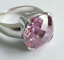 Ring rosafarbener Edelstein Silber 925 rhodiniert Vintage 80er silver ring
