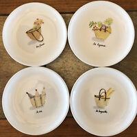 """Rae Dunn 6"""" Plate Set 4pc Artisan Magenta Appetizer Dessert Bread, French Picnic"""