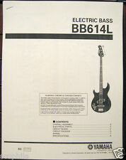 Yamaha BB614L Left Hand 4 String Electric Bass Guitar Service Manual, Parts List