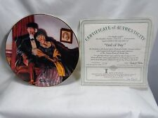 Norman Rockwell 1988 End Of Day Knowles Collector Plate Coa & Box