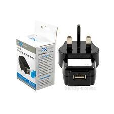 USB UK 3 Pin Muro Caricabatterie IDEALE PER TELEFONI CELLULARI PDA oratori-Nero