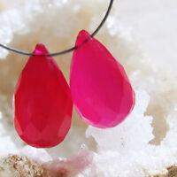 2  pink chalcedon briolette  facc. tropfen  perlen  ca. 12-13x7,5-8mm