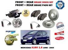 Per Mercedes Classe A A160 1.6 1998-2004 Anteriore + Posteriore Dischi Freno Set + Pastiglie Kit