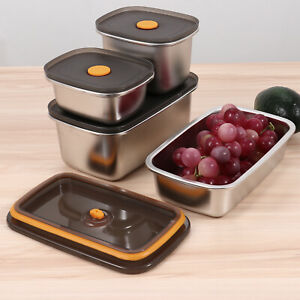 Stainless Steel Food Container w/PP Press Lid Leak-Proof Bento Meals Lunch Box