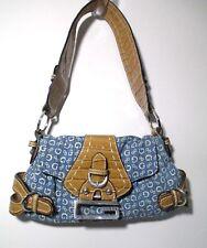CUTE Guess Signature Handbag Blue Tan Purse Fx Croc Leather VGC