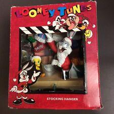 Looney Tunes Holiday Stocking Hanger Holder Bugs Bunny Santa Tweety Bird 1996