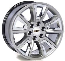 "New 20"" Chevy Hyper Silver W/ Chrome Wheels Rims Silverado Tahoe Suburban LTZ"