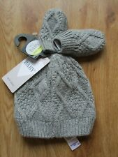 NEWBORN BABY BOYS GIRLS UNISEX GREY CABLE KNIT HAT & MITTENS SET BNWT