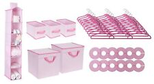 Nursery Bins and Shelf Storage Set Hangers Closet Organizer Baby Girl Pink Set