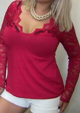 SEXY SULTRY ANGEL VTG RED FLORAL LACE LOW V NECK COTTON STRETCH WOMENS TOP 1x