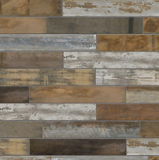 Wood Look Porcelain Tile, Vintage Floor Wall Shower Kitchen Accent Chic Mosaic