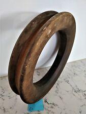 Vintage antique timber wooden fishing hand reel 28cm diameter x 5cm deep