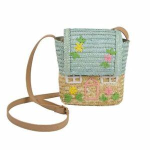Handmade Rattan House Shape Storage Basket & Kids Shoulder Bag Room Decor Crafts