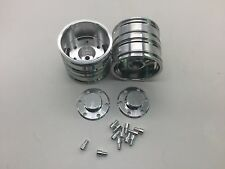 2pcs Tractor Truck Aluminum Rear Wheels for Tamiya 1:14 Tractor Truck Car Silver
