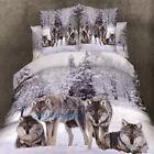 Queen Size Bed Doona/Duvet Cover Set Quilt Cover Pillow Cases Brown Wolf Linen